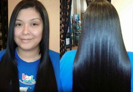 Before & After Brazilian Blow Out Hair Extension & Hair Cut